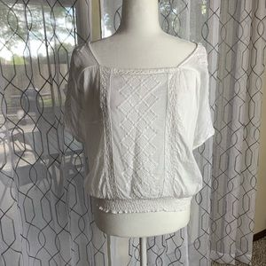 Lucky Brand White Crochet Detail Top Small